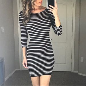 BcbgMaxAzria Striped Long Sleeved Navy Dress XS